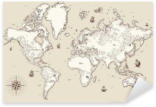 Pixerstick Aufkleber Hohe detaillierte, Weltkarte mit dekorativen Elementen