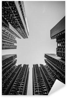 Pixerstick Aufkleber Hong Kong Stadtbild Schwarz-Weiß-Ton