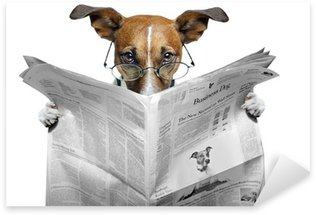 Pixerstick Aufkleber Hund liest Zeitung