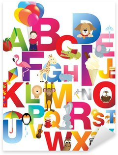 Pixerstick Aufkleber Illustration der Kinder Alphabet