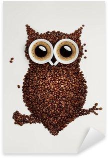 Pixerstick Aufkleber Kaffee-Eule.