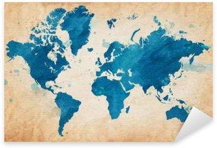 Pixerstick Aufkleber Karte der Welt mit einem strukturierten Hintergrund und Aquarellflecken