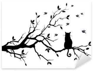 Pixerstick Aufkleber Katze auf einem Baum mit Vögeln, Vektor
