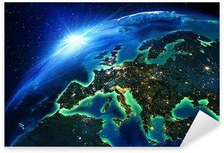 Pixerstick Aufkleber Landfläche in Europa die Nacht