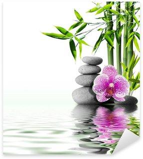 Pixerstick Aufkleber Lila Orchidee Blume Ende Bambus auf dem Wasser