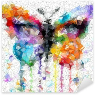 Pixerstick Aufkleber Mehrfarbige helle Schmetterling abstrakten geometrischen Hintergrund