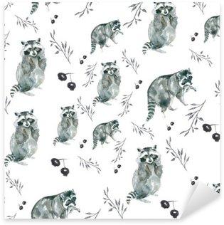 Pixerstick Aufkleber Muster Waschbären. Waschbären und kleine Zweige, Beeren. Aquarell