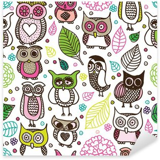 Pixerstick Aufkleber Nahtlose Kinder Eule doodle Muster Hintergrund im Vektor-