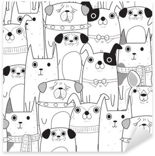 Pixerstick Aufkleber Nahtlose Muster Hunde