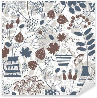 Pixerstick Aufkleber Nahtlose Muster mit Herbststräußchen.