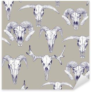 Pixerstick Aufkleber Nahtlose Muster mit Schädel von Hirsch, Stier, Ziege und Schaf. Strichzeichnung Schädel. Mystische Hintergrund für Ihr Design.