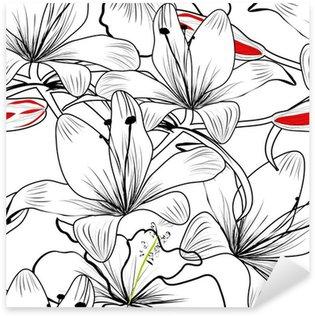 Pixerstick Aufkleber Nahtlose Muster mit weißen Lilie