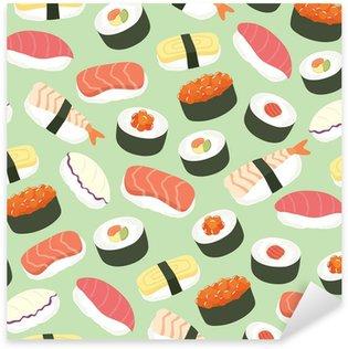 Pixerstick Aufkleber Nette Sushi Hintergrund nahtlose Muster