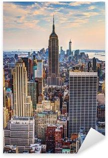 Pixerstick Aufkleber New York City in der Abenddämmerung