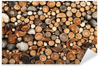Pixerstick Aufkleber Pile of gehackte Brennholz