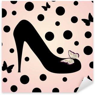 Pixerstick Aufkleber Pink fashion shoes Hintergrund