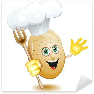 Pixerstick Aufkleber Potato Potato Cook-Cook-Cartoon Cartoon Comics-Vektor