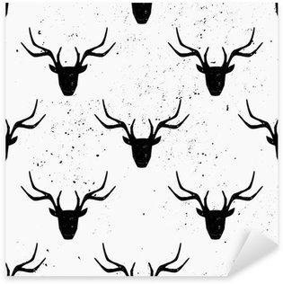 Pixerstick Aufkleber Rotwild-Kopf-Silhouette Seamless Pattern