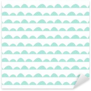 Pixerstick Aufkleber Scandinavian nahtlose Minze Muster in der Hand gezeichnete Art. Stilisierte Hügel Reihen. Wave-einfaches Muster für Stoff, Textil- und Babywäsche.