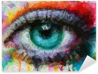 Pixerstick Aufkleber Schöne Augen in geometrische Gestaltung abstrakten geometrischen Hintergrund