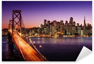 Pixerstick Aufkleber Skyline von San Francisco und Bay Bridge bei Sonnenuntergang, California