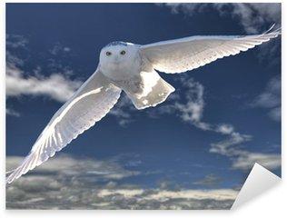 Pixerstick Aufkleber Snowy Owl in Flight
