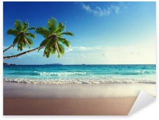 Pixerstick Aufkleber Sonnenuntergang am Strand der Seychellen