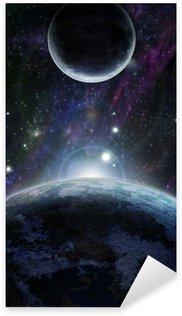 Pixerstick Aufkleber Sonnenuntergang mit zwei blauen Planeten