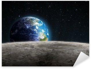 Pixerstick Aufkleber Steigende Erde vom Mond gesehen