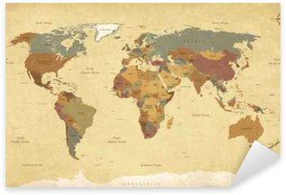 Pixerstick Aufkleber Strukturierter Jahrgang Weltkarte - English / US Etiketten - Vektor CMYK