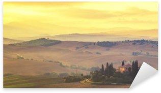 Pixerstick Aufkleber Toskanischer Landschaft im Herbst, Retro-Farben, Vintage