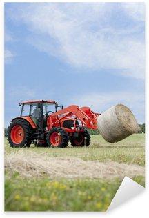 Pixerstick Aufkleber Traktor schleppen Rundballen