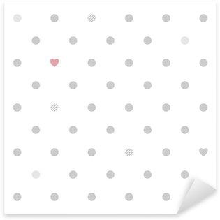 Pixerstick Aufkleber Tupfen mit Herzen nahtlose Muster - weiß und grau.