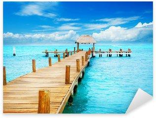 Pixerstick Aufkleber Urlaub in Tropic Paradise. Jetty auf der Isla Mujeres, Mexiko