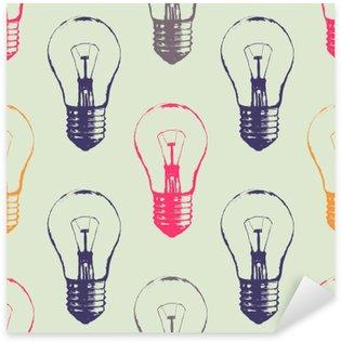 Pixerstick Aufkleber Vektor Grunge nahtlose Muster mit Glühbirnen. Moderne Hipster Skizze Stil. Idee und kreatives Denken Konzept.