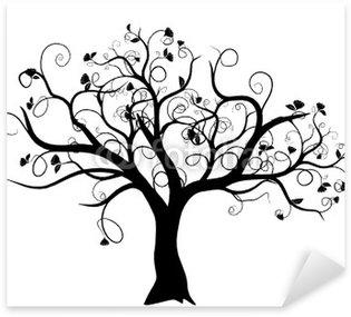 Pixerstick Aufkleber Vektor-Set - Vektor-Schwarz-Baum auf weißem Hintergrund