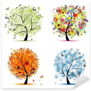 Pixerstick Aufkleber Vier Jahreszeiten - Frühling, Sommer, Herbst, Winter. Art trees