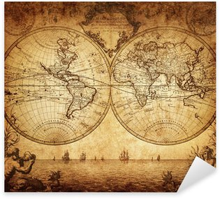 Pixerstick Aufkleber Vintage Karte der Welt 1733