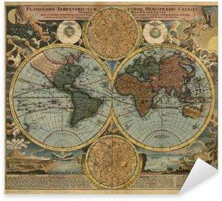 Pixerstick Aufkleber Weinlese-Weltkarte