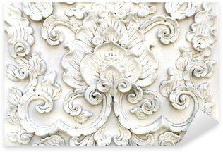 Pixerstick Aufkleber Weiß thai Kunst Mauer, Thai-Tempel