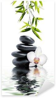 Pixerstick Aufkleber Weiße Orchidee Blume Ende Bambus