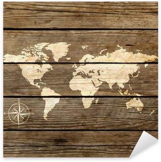 Pixerstick Aufkleber Weltkarte auf einem Holzbrett Vektor