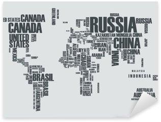 Pixerstick Aufkleber Weltkarte: die Konturen des Landes besteht aus den Worten