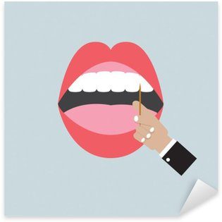 Pixerstick Aufkleber Zahnstocher in Hand mit geöffnetem Mund Vector Illustration