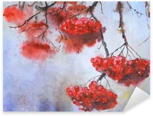 Pixerstick Aufkleber Zweig der Rowan in regnerischen weather.Watercolor Hand gezeichnete Illustration.