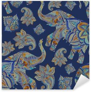 Autocolante Pixerstick Aquarela elefante étnica com elementos de paisley background.