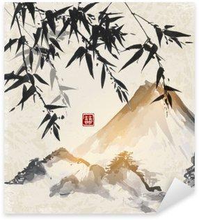 Autocolante Pixerstick Bambu e montanhas. Japonês tradicional pintura a tinta sumi-e. Contém hieróglifo - double sorte.