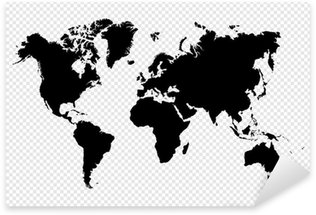 Autocolante Pixerstick Black silhouette isolated World map EPS10 vector file.
