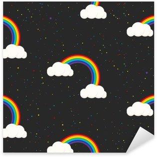 Autocolante Pixerstick Céu nocturno da fantasia garoto padrão sem emenda. Estrelas confetti, nuvens e menino do arco-íris papel de parede cinzento e design de tecido.