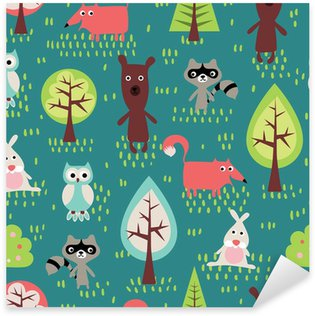 Autocolante Pixerstick Cute animals seamless pattern